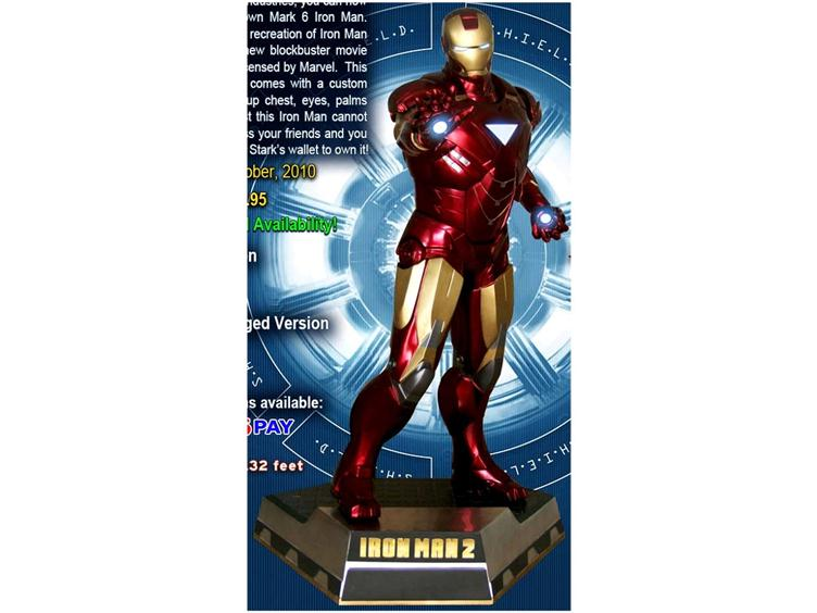 HCO10081 1:1 Iron Man Mark VI Life Sized Statue   Iron Man 2 2010 Movie Statues & Busts