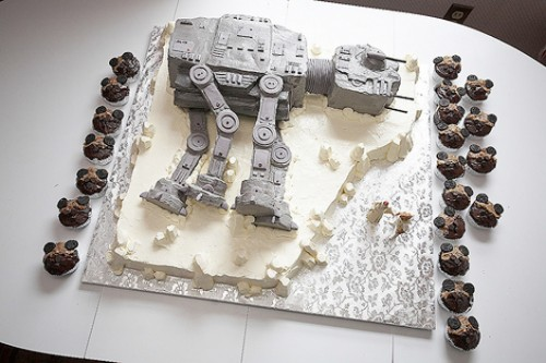atatcake 500x333 Star Wars AT AT Cake and ewok cupcakes