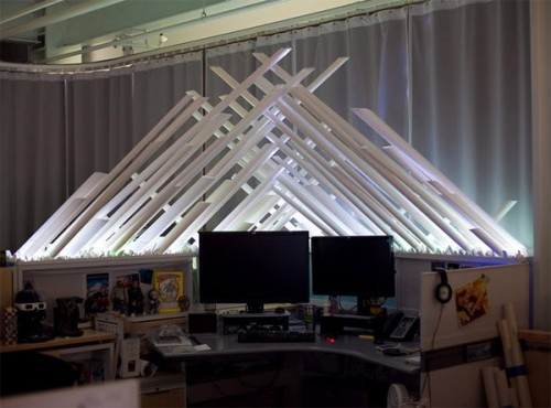 fortress of solitude cubicle 500x370 Custom LED Superman Fortress of Solitude w/ Jorel head