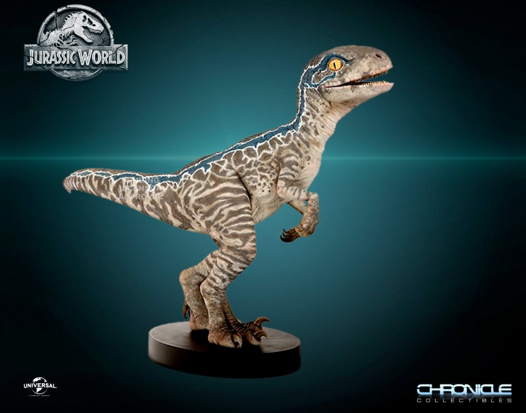 jurassicworld blue lifesize chonicle photo1 1024x804 Baby Blue Velociraptor Statue